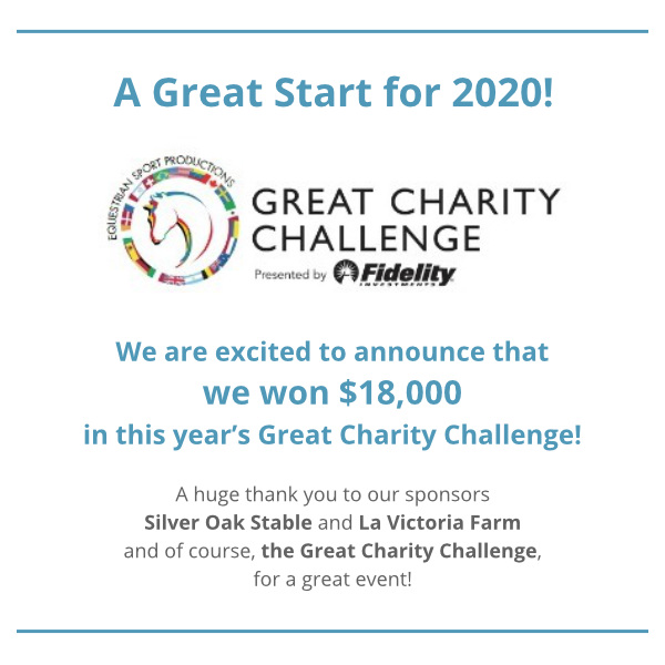 Great Charity Challenge 2020 - We Won $18,000! - Thank You Silver Oak Stable, La Victoria Farm, and Great Charity Challenge!